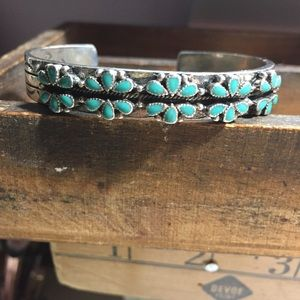 Lucky brand silver & turquoise cuff bracelet